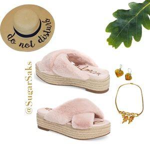 SAM EDELMAN Pink Faux Fur Sandals NIB